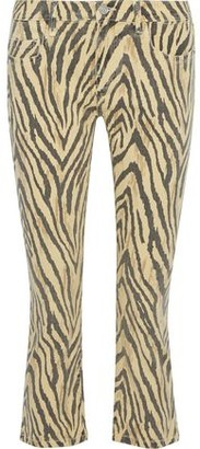 Current/Elliott The Ruby Cropped Zebra-print Low-rise Slim-leg Jeans