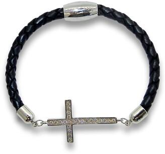 Liza Schwartz Sterling Silver Pave CZ Cross Leather Bracelet