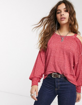 Free People Chill Out long sleeved relaxed t-shirt-Pink