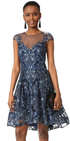 Marchesa Cap Sleeve Cocktail Dress