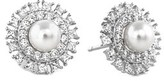 Crislu Embellished Halo Platinum Plated 5mm Pearl & Cz Drop Earrings.