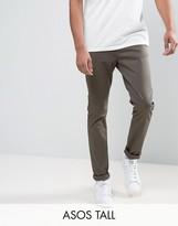 Asos Tall Skinny Chinos In Dark Khaki