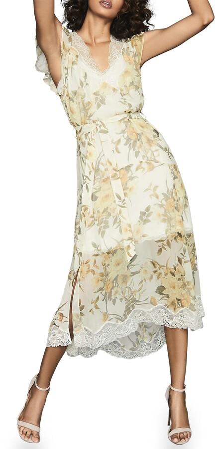 Reiss Emlin Floral Lace Trim Sleeveless Dress