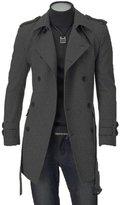 Krralinlin Mens Winter Double Breasted Woolen Trench Pea Coat Long Windbreaker Jacket