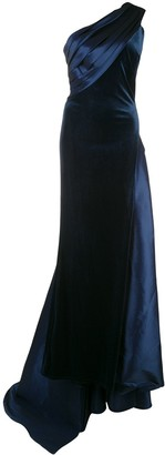 Tadashi Shoji Velvet And Satin One Shoulder Evening Gown