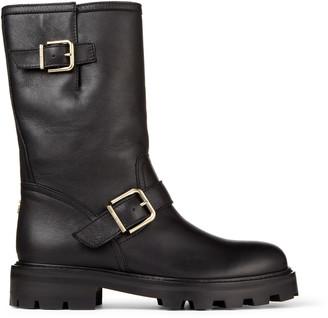 Jimmy Choo BIKER II Black Smooth Leather Biker Boots