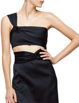3.1 Phillip Lim One-Shoulder Satin Crop Top, Black