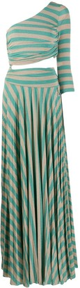 Elisabetta Franchi One-Shoulder Striped Cut-Out Maxi Dress