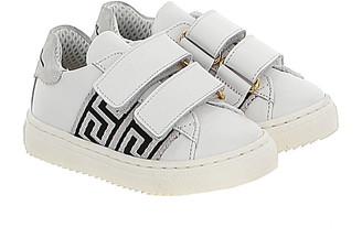 Versace Kid's Greca Dual Grip-Strap Sneakers, Baby/Toddlers