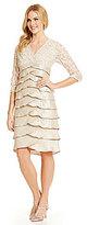 Jessica Howard Soutache-Lace Tiered Sheath Dress