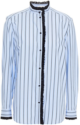Sandro Lace-trimmed Striped Cotton-poplin Shirt