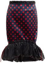Mary Katrantzou Hazel Polka-dot Print Satin Skirt - Womens - Red Navy