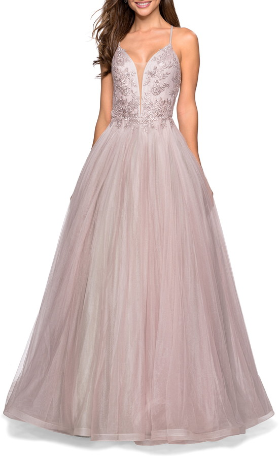 La Femme Tulle & Lace Evening Dress