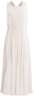 Chloé Pleated Silk Apron Midi Dress