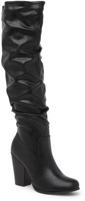 Chase & Chloe Max Slouch Chunky Heel Knee-High Boot