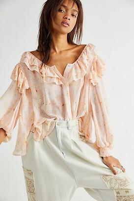 Free People Cherry Bright Blouse