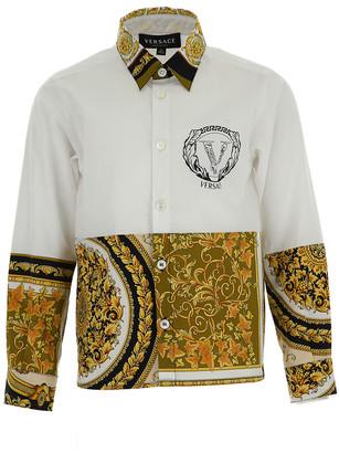 Versace Boy's Baroque Logo Button-Down Shirt, Size 8-14