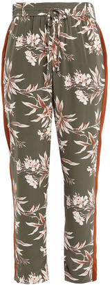 Joie Cropped Printed Crepe De Chine Tapered Pants