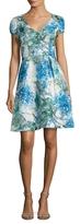 Theia Brocade Pleated Flare Dress