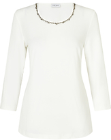 Gerry Weber 3/4 Sleeve Embroidered Jersey Top, Salt