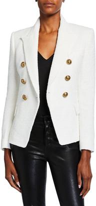 Balmain 6-Button Tweed Double-Breasted Blazer