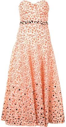 DELPOZO Floral-Print Strapless Dress