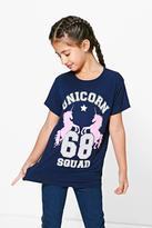 Boohoo Girls Oversized Unicorn Tee