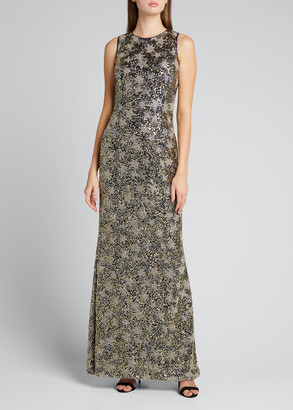 Rickie Freeman For Teri Jon Beaded Lace Jewel-Neck Sleeveless Column Gown