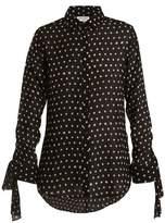 Saint Laurent Cuff-tie polka dot-print silk blouse