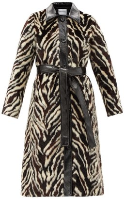 Stand Studio Aurora Belted Zebra-print Faux-fur Coat - Black White