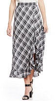 M.S.S.P. Ruffled Plaid Maxi Skirt