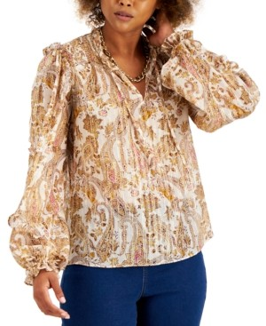 INC International Concepts Inc Petite Paisley-Print Shine Peasant Top, Created for Macy's