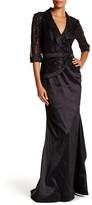 Mac Duggal 3/4 Sleeve Lace Embellished Dress
