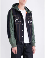 Evisu Hooded Denim And Quilted Jacket