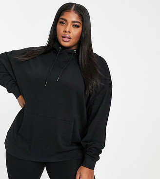 ASOS DESIGN Curve organic cotton super oversized boyfriend hoodie in black