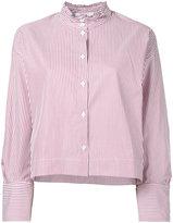 Atlantique Ascoli striped ruffle collar shirt - women - Cotton - 2