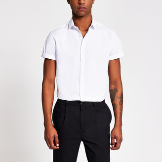 River Island White short sleeve slim fit shirt