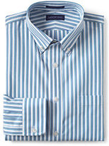 Classic Men's No Iron Traditional Fit Broadcloth Dress Shirt-White/Emerald Gulf Stripe