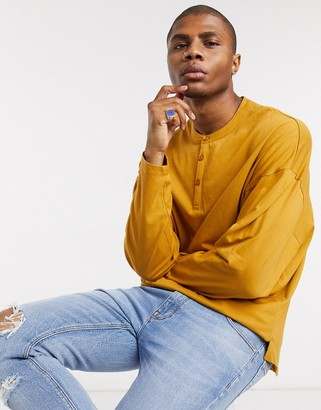 ASOS DESIGN oversized long sleeve t-shirt with grandad neck in brown
