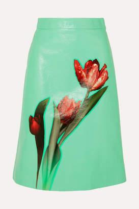 Prada Floral-print Leather Midi Skirt - Green