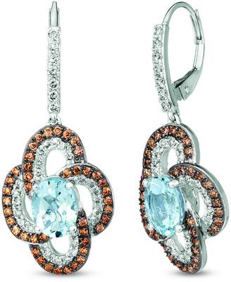 LeVian Le Vian 14K 3.28 Ct. Tw. Diamond & Aquamarine Drop Earrings