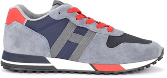 Hogan H383 Sneaker In Gray Suede With Dark Blue Inserts And Red Details