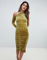 Asos Design High Neck Ruched Velvet Midi Bodycon Dress
