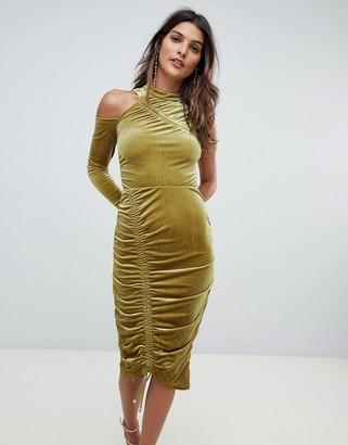 Asos Design ASOS High Neck Ruched Velvet Midi Bodycon Dress