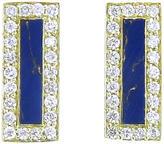 Jennifer Meyer Diamond Lapis Inlay Bar Stud Earrings - Yellow Gold