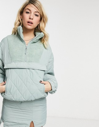 Bershka oversized half zip jacket co-ord with quilting in sage green