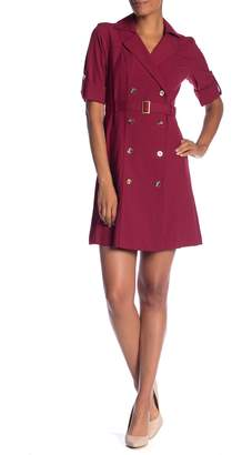 Sharagano Short Sleeve Trench Dress