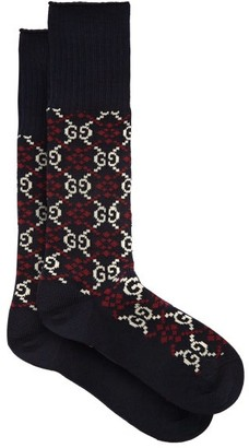 Gucci Gg Jacquard Cotton Blend Socks - Mens - Navy