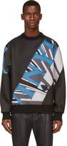 Juun.J Washed Black Neoprened Vinyl Sweatshirt