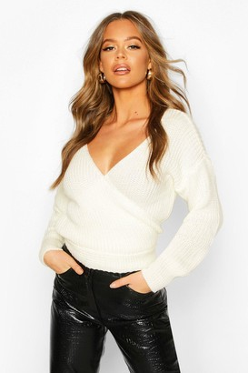 boohoo Wrap Knitted Jumper